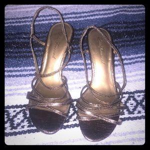 Lulu Townsend strappy heels sz 7.5 Bronze